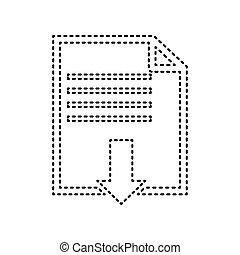 bestand, downloaden, teken., vector., black , verbruid, pictogram, op wit, achtergrond., isolated.