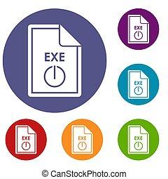 bestand, exe, iconen, set