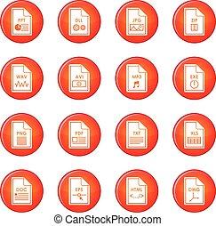 bestand, formaat, iconen, vector, set