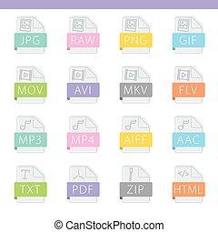 bestand, formaat, kleurrijke, iconen