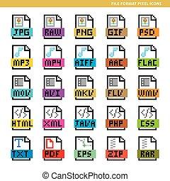 bestand, formaat, pixel, iconen