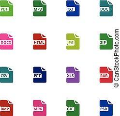 bestand, formaat, type, icons., downloaden, document,...