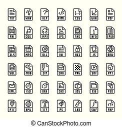 bestand, formaat, uitbreidingen, vector, iconen