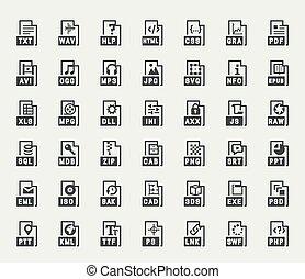 bestand, formaat, vector, iconen