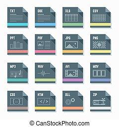 bestand, formaten, iconen, set, met, illustr