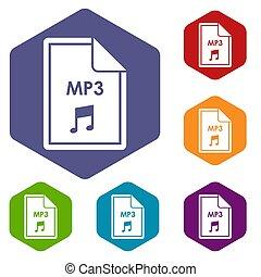 bestand, mp3, iconen, set