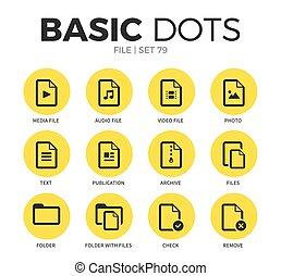 bestand, plat, iconen, vector, set