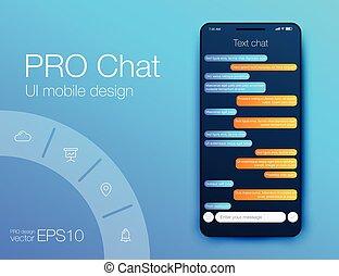 bestand, sms, messages., interface., vektor, unterhaltung, telefon