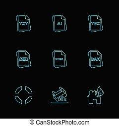 bestand, type, archief, documenten, eps, iconen, set, vector