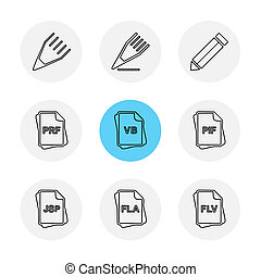 bestand, type, archief, documenten, eps, iconen, set, vector