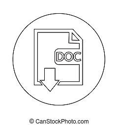 bestand, type, doc, pictogram, illustratie, ontwerp