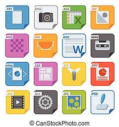 bestand, type, iconen, vector, set.