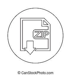 bestand, type, ritssluiting, pictogram, illustratie, ontwerp