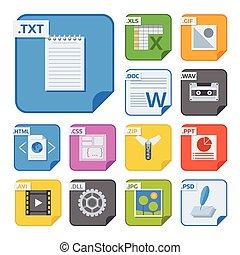 bestand, types, en, formaten, etiketten, pictogram,...