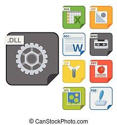 bestand, types, vector, iconen, en, formaten, etiketten,...