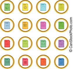 bestand, uitbreiding, iconen, cirkel