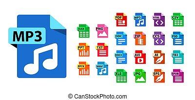 bestand, verzameling, uitbreidingen, formaat, vector, icons.