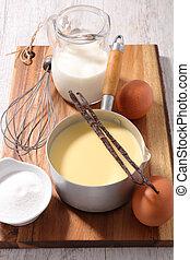 bestandteil, creme, eiercreme