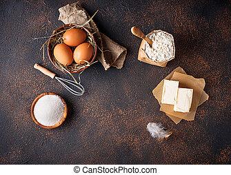 bestandteile, für, baking., butter, eier, zucker, und, mehl