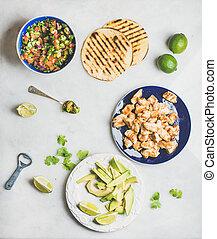 bestandteile, kochen, avocado, grau, tacos, hintergrund, huhn, marmor