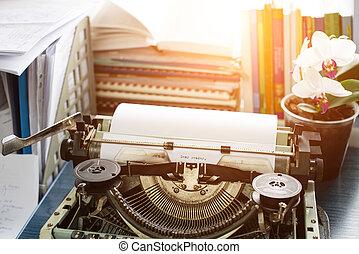 beste; geachte, reader:vintage, inscriptie, gemaakt, door, oud, typemachine