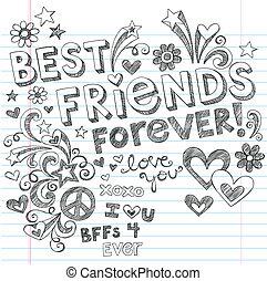 beste vrienden, sketchy, doodles, vector