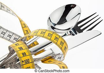 bestek, met, tape., symbool, diet.
