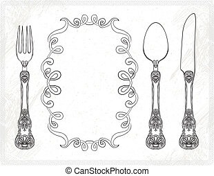 bestek, vector, vork, mes, lepel