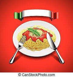 bestek, vlag, achtergrond, spaghetti, rood, italiaanse