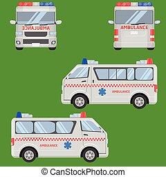 bestelbus, ambulance, vector, illustratie, auto, thai