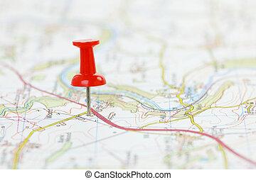 bestemming, op, een, kaart
