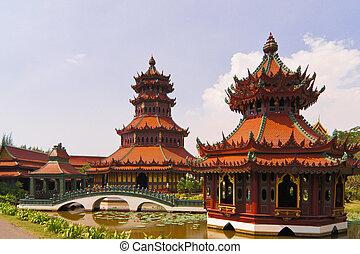 bestemmingen, oud, thailand., toerist, kunst