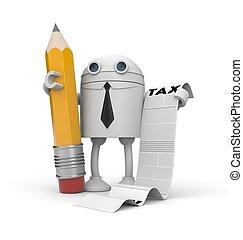 besteuerung, roboter, abbildung, list., geschäftsmann, 3d