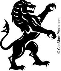 bestia, león, vector, real