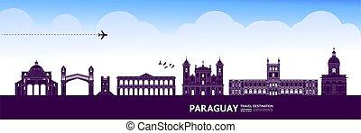 bestimmungsort, paraguay, illustration., vektor, großartig,...