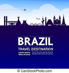 bestimmungsort, reise, vektor, großartig, brasilien,...