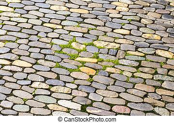 bestrating, achtergrond, cobblestone