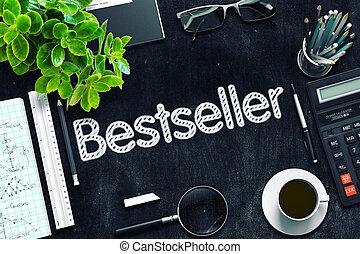 bestseller, kézírásos, képben látható, fekete, chalkboard., 3, rendering.