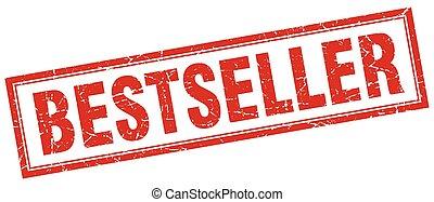 bestseller red square grunge stamp on white