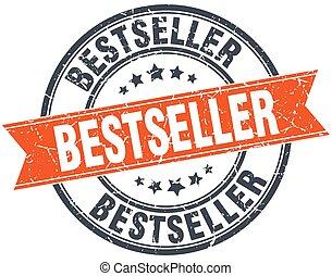 bestseller, selo, vindima, isolado, grungy, laranja, redondo
