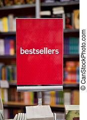 bestsellers, área, en, librería, -, muchos, libros, en, el,...