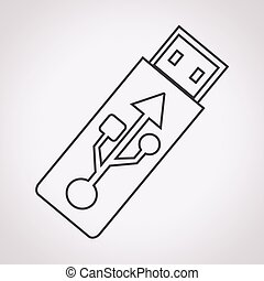 besturen, flits, usb, pictogram