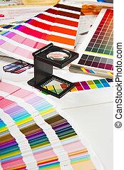 bestuur kleur, -, drukken, fabriekshal, afdrukken