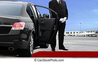 bestuurder, limousine, luchthaven, wachten