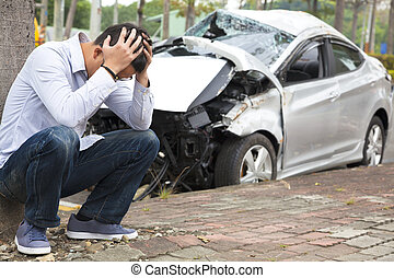 bestuurder, na, verkeer, omgooien, ongeluk