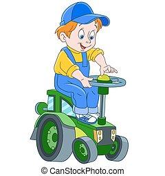 bestuurder, spotprent, tractor