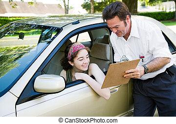 bestuurder, tiener, geslaagd, test