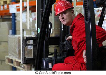 bestuurder, uniform, rood, arbeider