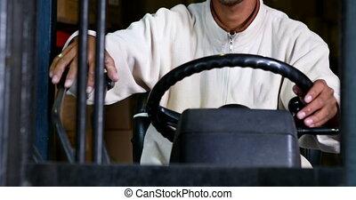 bestuurder, vorkheftruck, het werken, machi