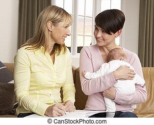 besucher, neugeborenes, sprechende , gesundheit, mutter, ...